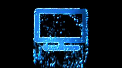 Liquid symbol tv appears with water droplets. Then dissolves with drops of Animation