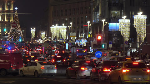 Automotive traffic in New Year's Moscow Footage