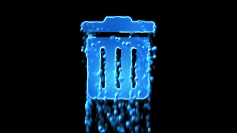 Liquid symbol trash appears with water droplets. Then dissolves with drops of Animation