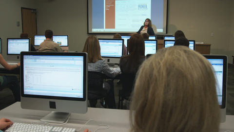 Students in a college computer lab Footage