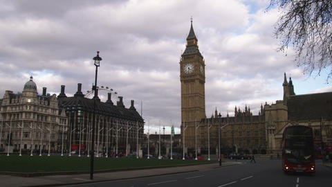 Pan of the Palace of Westminster in London Footage