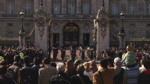 Clip of the changing of the guards at Buckingham Palace Footage