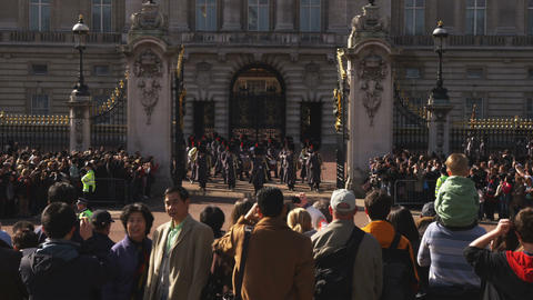 Shot of the Buckingham Palace changing of the guards Footage