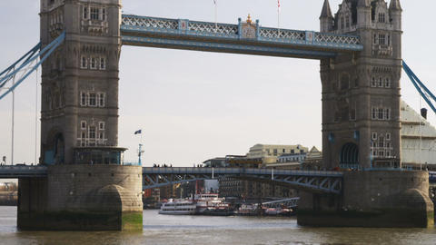 Tilt down shot of the Tower Bridge in London Footage