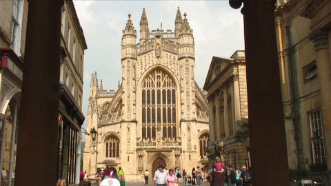 Bath Abbey seen between two pillars in England Footage