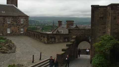 People walking around the Edinburgh Castle in Scotland Live Action
