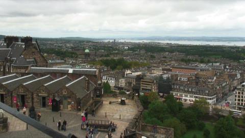 Panorama cityscape of Edinburgh Scotland Live Action