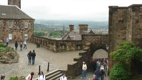 Courtyard of Edinburgh Castle in Scotland Live Action