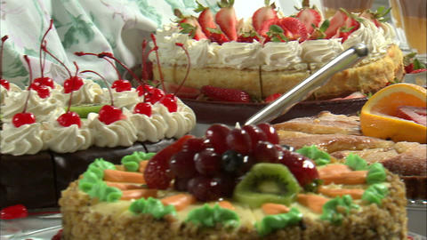 Close-up of delicious looking desserts on a table Footage