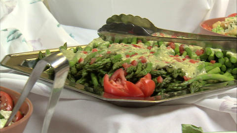 Close-up of delicious looking salads and appetizers Footage