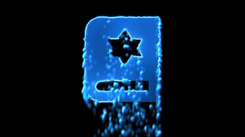 Liquid symbol torah appears with water droplets. Then dissolves with drops of Animation