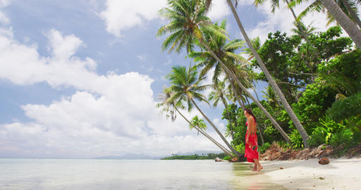 Woman Wearing Sarong Walking On Beach On Summer Vacation in Tropical Paradise Footage