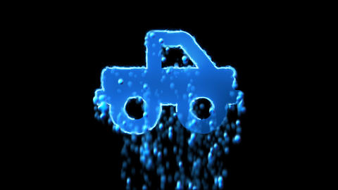 Liquid symbol truck pickup appears with water droplets. Then dissolves with Animation