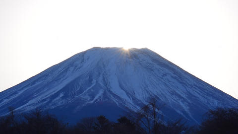 Diamond Mt.Fuji of Sunrise from Fujigane Japan Telephoto Footage