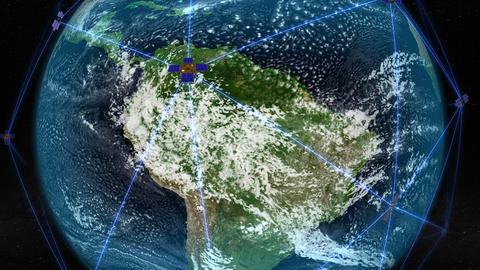 Satellites orbiting over South America. Elements of this image furnished by NASA Animation