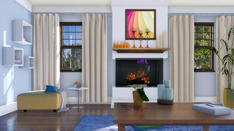 Living room interior with wall fireplace at daytime Footage