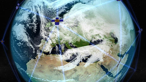 Satellites orbiting over Europe. Elements of this image furnished by NASA Animation