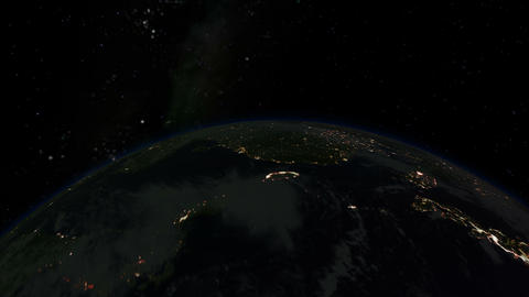 Camera spinning around planet Earth. Day to night.... Stock Video Footage