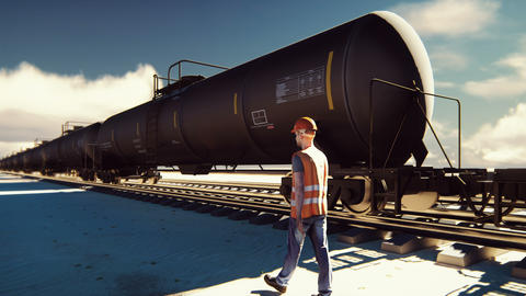 Oil worker walks past the railway with Rail tank cars driving on it 애니메이션