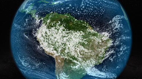 Satellite image of South America with clouds movement. Elements of this image Animation