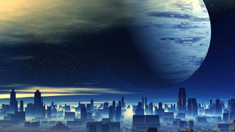 Huge Planet over Alien City CG動画素材