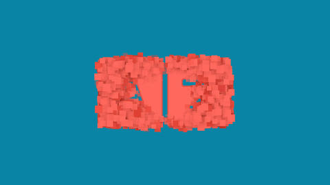 Behind the squares appears the symbol language. In - Out. Alpha channel Animation