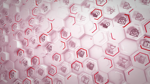 Convex business hexagons flying aslant Animation