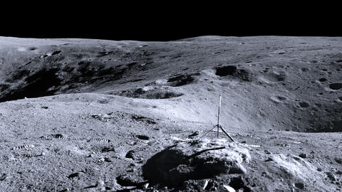 Panorama of a picture of the moon landing spot. Elements… Stock Video Footage