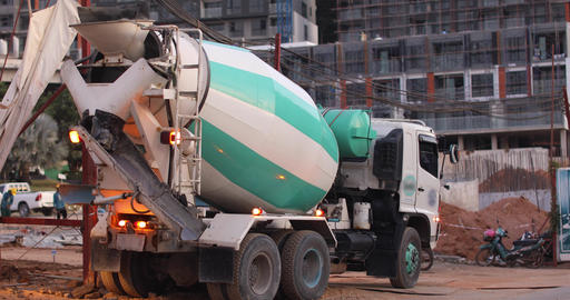 concrete mixer truck construction site work Footage