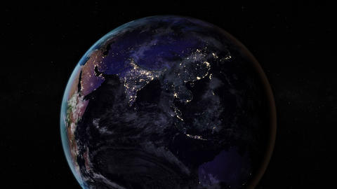 Night side of the Earth with city lights. Zoom in Asia countries. Elements of Animation