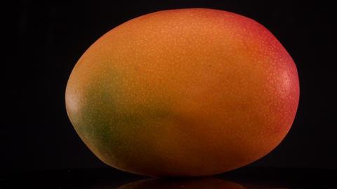Fresh yellow mango fruit solated on black backgrounds,... Stock Video Footage