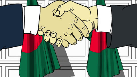 Businessmen or politicians shake hands against flags of Bangladesh. Official Footage