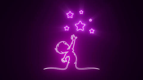 Purple Reaching Stars Logo with Reveal Effect Graphic Element Animation
