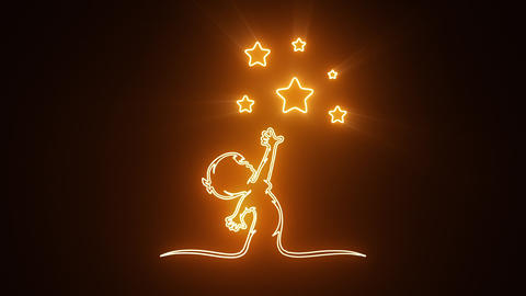 Orange Reaching Stars Logo with Reveal Effect Graphic Element Animation