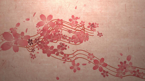 Cherry blossoms are blooming along the trajectory ,in paper texture background 2 CG動画素材