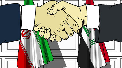 Businessmen or politicians shake hands against flags of Iran and Iraq. Official Footage