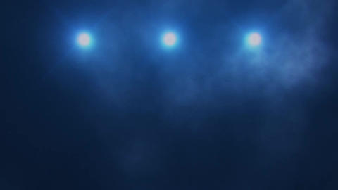 Blue Triple Stage Lights and Smoke VJ Loop Background Stock Video Footage