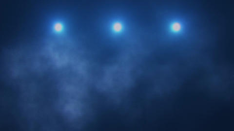 Blue Triple Stage Lights and Smoke VJ Loop Background Animation