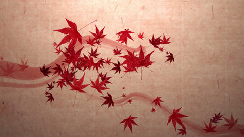 red momiji leaves are blooming along the trajectory , in paper texture Animation
