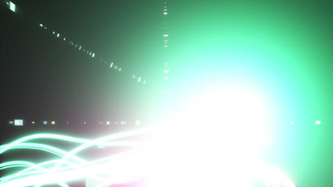 Crossing trajectory of light _ green _ magenta Stock Video Footage