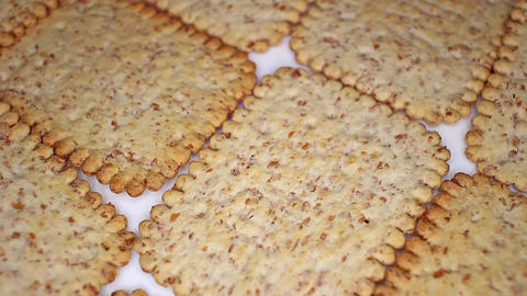 Whole grain healthy cracker biscuit food food closeup texture pattern. Seamless Live Action