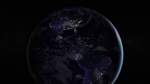 Night side of the Earth with city lights. Zoom in America countries. Elements of Animation