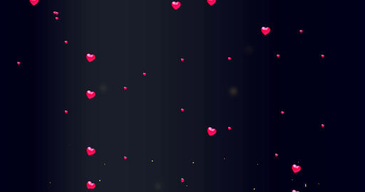 Red small hearts flying on the black background. Valentines Day holiday abstract Footage