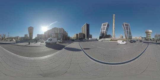 360 VR Madrid cityscape with Gate of Europe towers and Plaza Castilla, Spain Footage