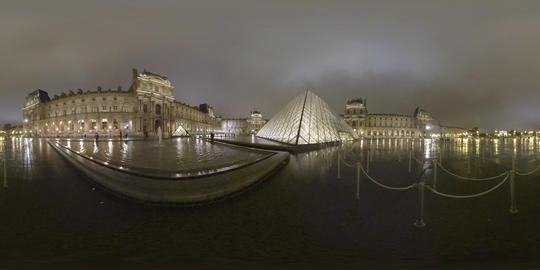 360 VR Louvre Museum with Pyramid in the court. Scene in night Paris, France Live Action