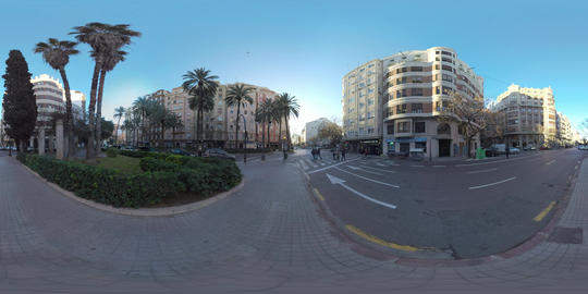 360 VR Street view in Valencia, Spain. City architecture and traffic on the road Footage