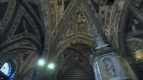 Ceiling of the baptistery of Siena in 4k Live Action
