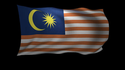 3D Rendering of the flag of Malaysia waving in the wind Live Action