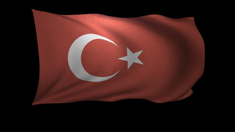 3D Rendering of the flag of Turkey waving in the wind Footage