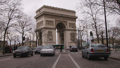 Shot of the Arc de Triomphe in Paris Footage
